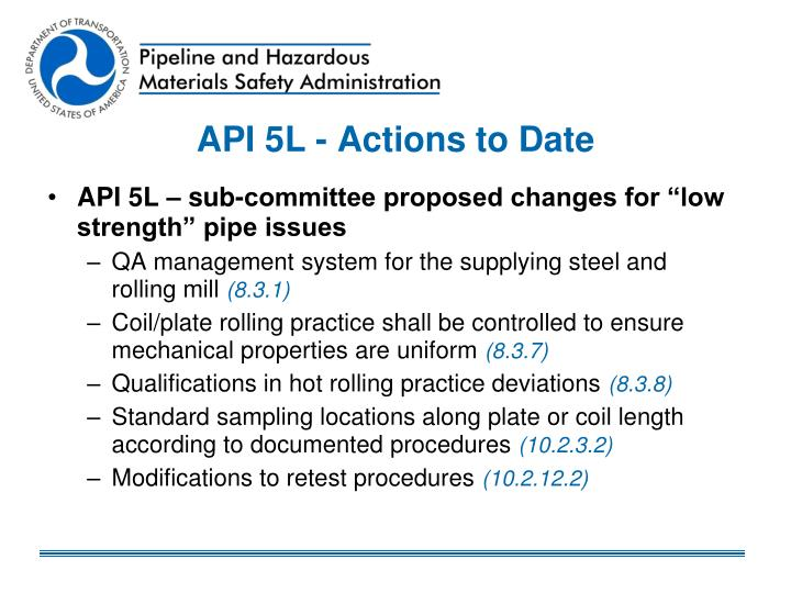 API 5L - Actions to Date