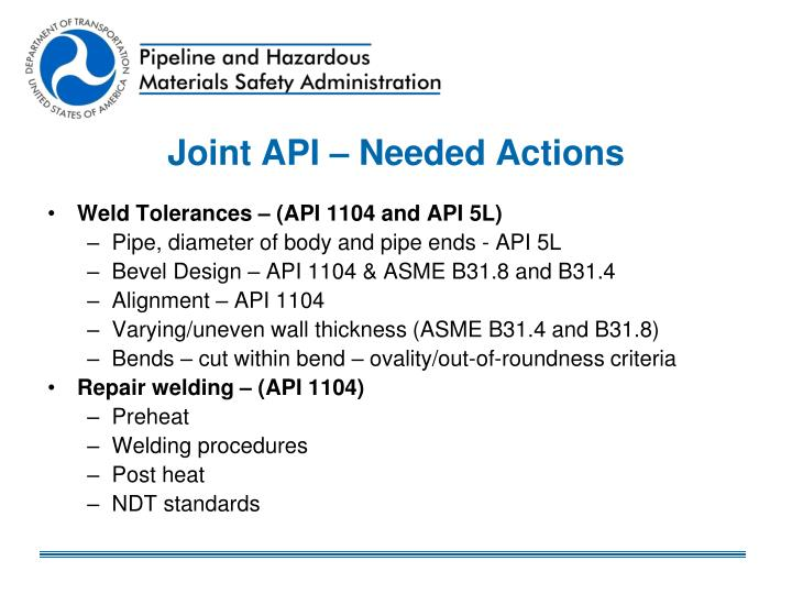 Joint API – Needed Actions
