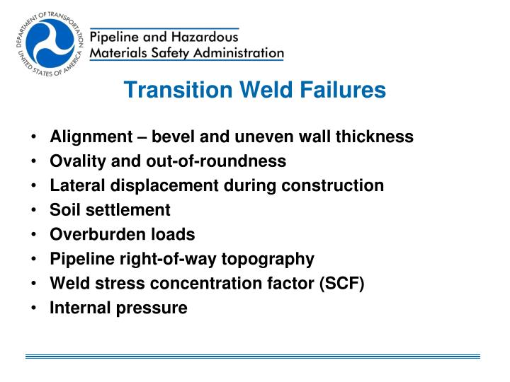 Transition Weld Failures