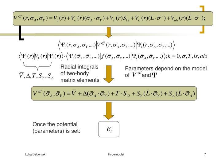 Radial integrals of two-body matrix elements