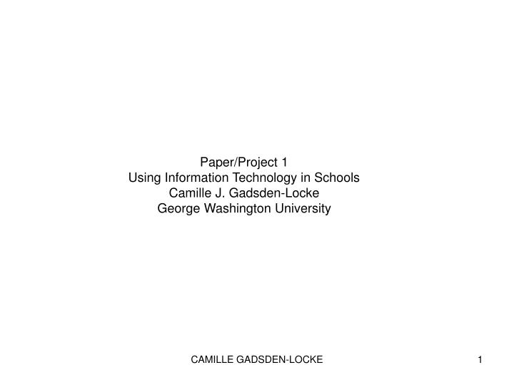 Paper/Project 1