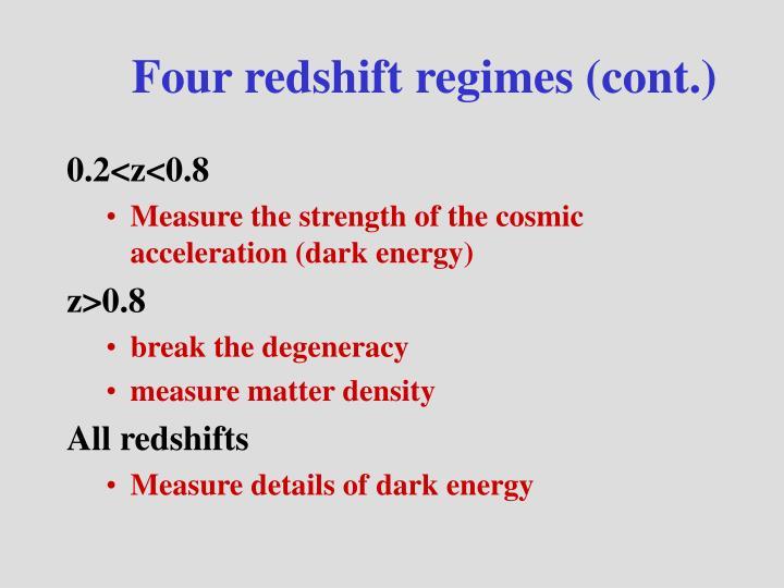 Four redshift regimes (cont.)