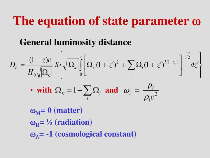 The equation of state parameter