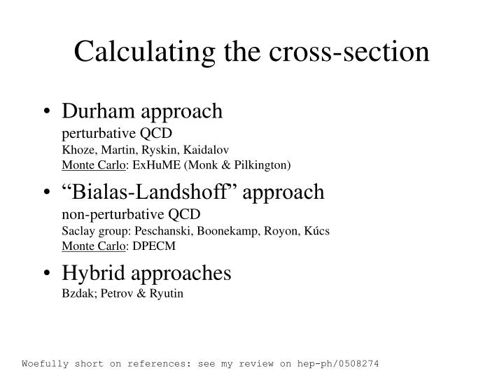 Calculating the cross-section