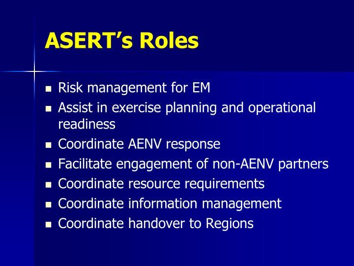 ASERT's Roles