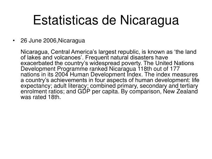 Estatisticas de Nicaragua