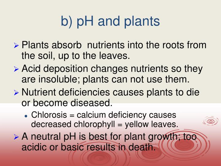 b) pH and plants