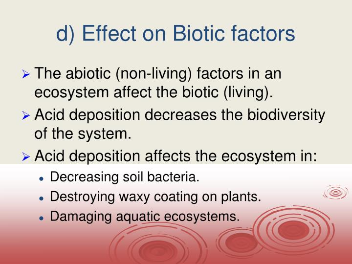 d) Effect on Biotic factors