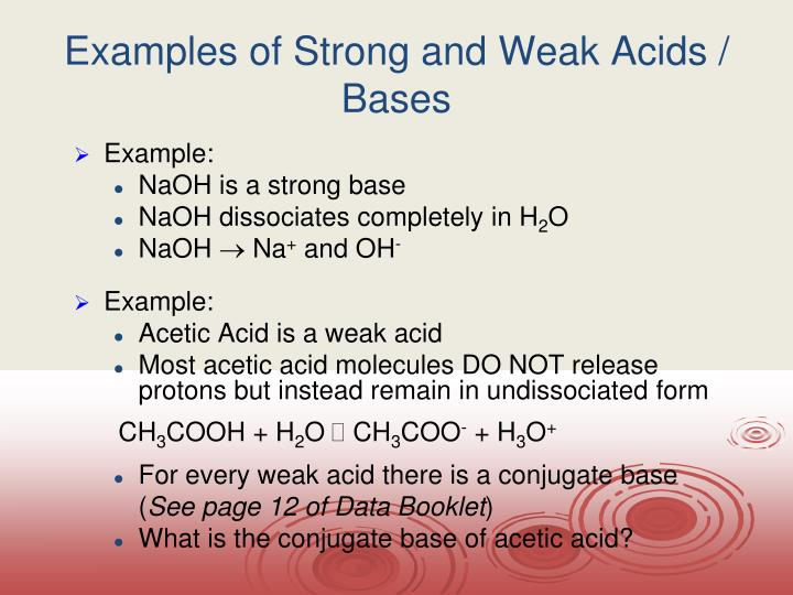 Examples of Strong and Weak Acids / Bases