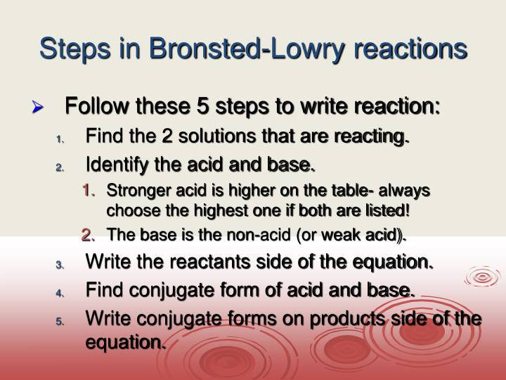 Steps in Bronsted-Lowry reactions