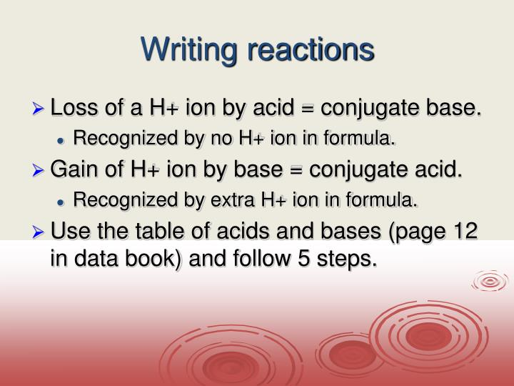 Writing reactions