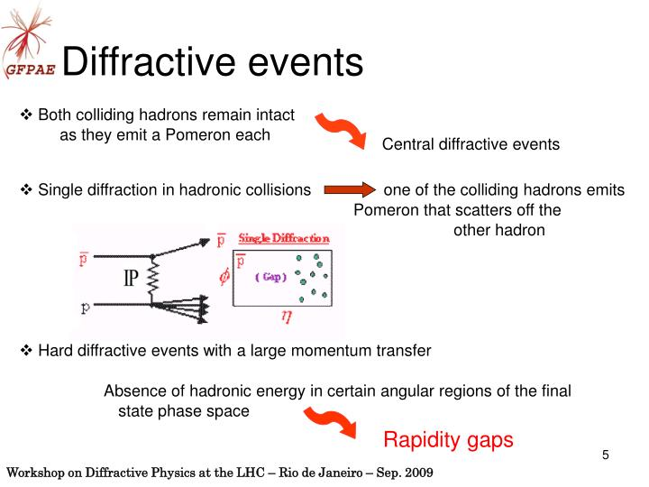 Single diffraction in hadronic collisions                one of the colliding hadrons emits
