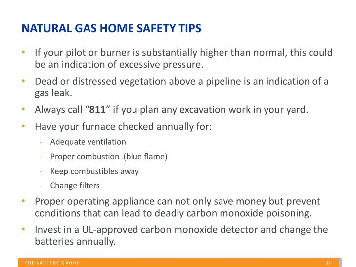 NATURAL GAS HOME SAFETY TIPS
