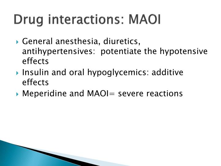 Drug interactions: MAOI