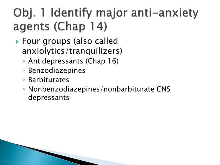 Obj. 1 Identify major anti-anxiety agents (Chap 14)