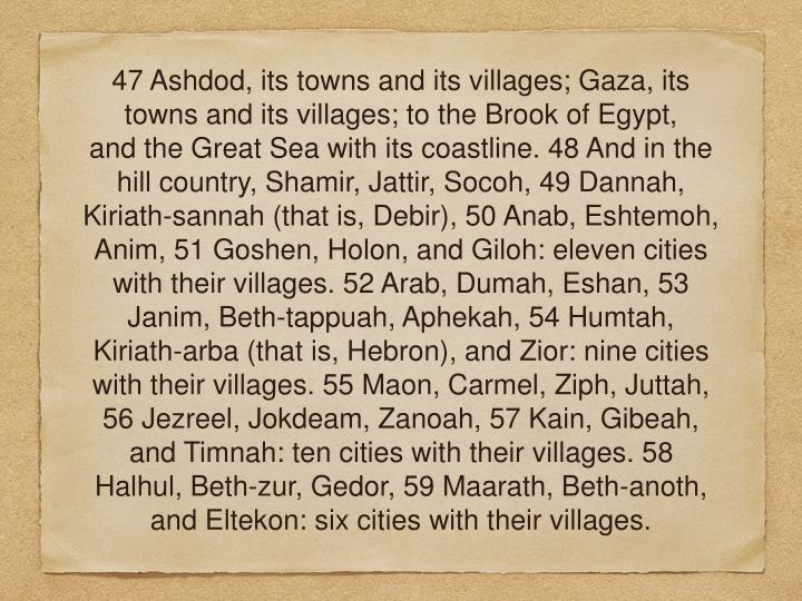 47 Ashdod, its towns and its villages; Gaza, its towns and its villages; to the Brook of Egypt, and the Great Sea with its coastline. 48 And in the hill country, Shamir, Jattir, Socoh, 49 Dannah, Kiriath-sannah (that is, Debir), 50 Anab, Eshtemoh, Anim, 51 Goshen, Holon, and Giloh: eleven cities with their villages. 52 Arab, Dumah, Eshan, 53 Janim, Beth-tappuah, Aphekah, 54 Humtah, Kiriath-arba (that is, Hebron), and Zior: nine cities with their villages. 55 Maon, Carmel, Ziph, Juttah, 56 Jezreel, Jokdeam, Zanoah, 57 Kain, Gibeah, and Timnah: ten cities with their villages. 58 Halhul, Beth-zur, Gedor, 59 Maarath, Beth-anoth, and Eltekon: six cities with their villages.