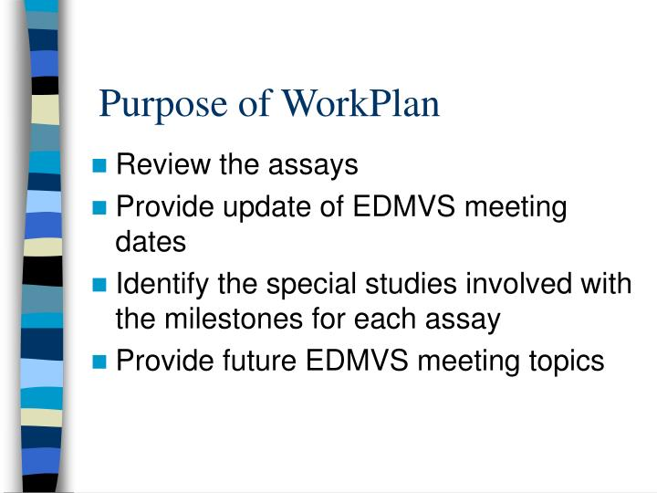 Purpose of WorkPlan