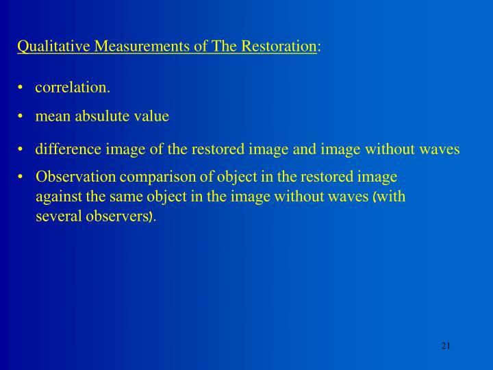 Qualitative Measurements of The Restoration