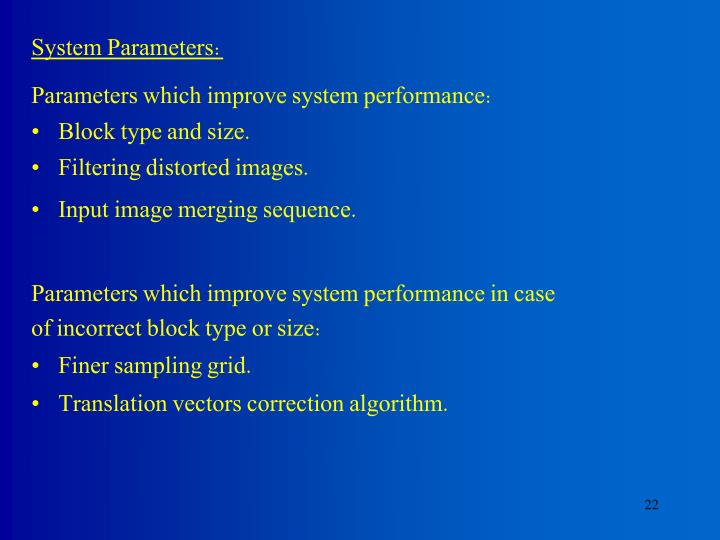 System Parameters: