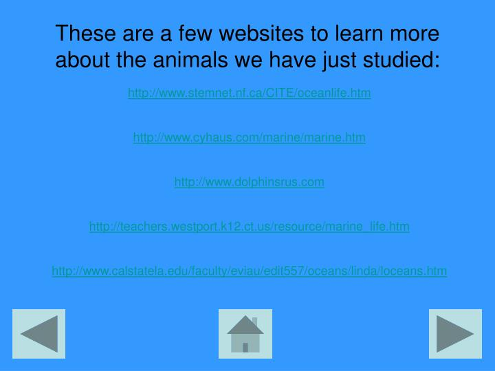 These are a few websites to learn more about the animals we have just studied: