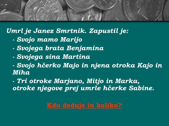 Umrl je Janez Smrtnik. Zapustil je: