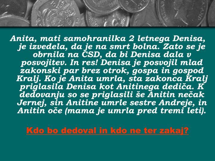 Anita, mati samohranilka 2 letnega Denisa, je izvedela, da je na smrt bolna. Zato se je obrnila na CSD, da bi Denisa dala v posvojitev. In res! Denisa je posvojil mlad zakonski par brez otrok, gospa in gospod Kralj. Ko je Anita umrla, sta zakonca Kralj priglasila Denisa kot Anitinega dediča. K dedovanju so se priglasili še Anitin nečak Jernej, sin Anitine umrle sestre Andreje, in  Anitin oče (mama je umrla pred tremi leti).