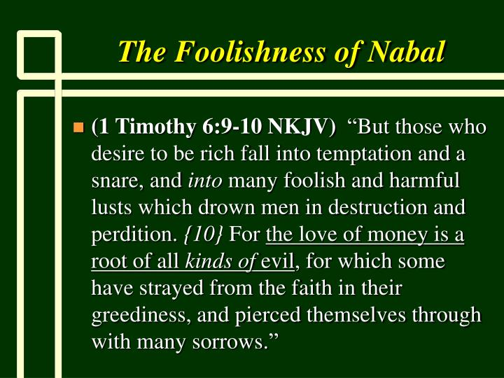 The Foolishness of Nabal