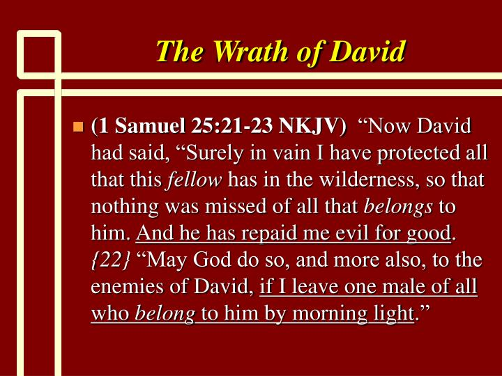 The Wrath of David