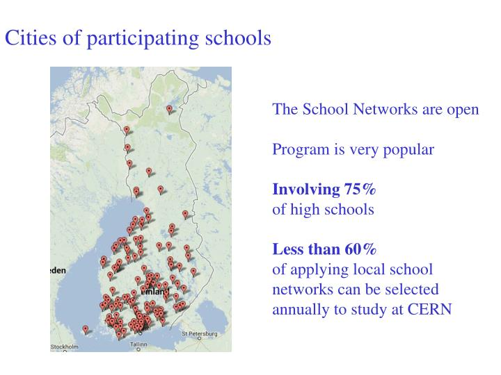 Cities of participating schools