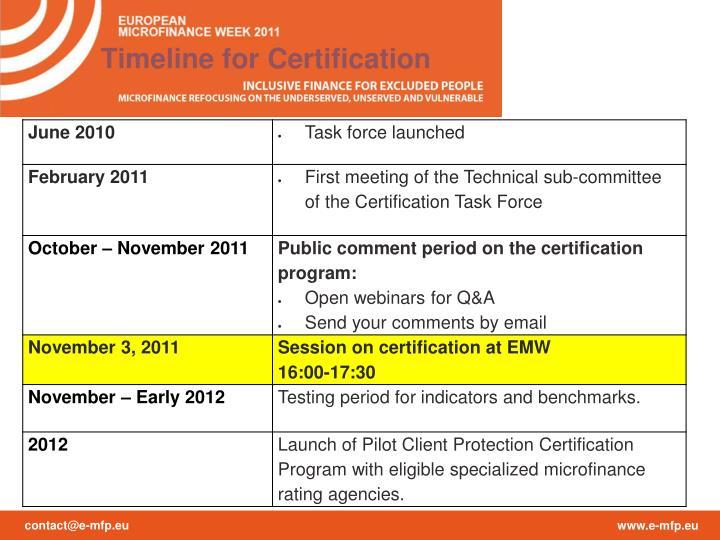 Timeline for Certification