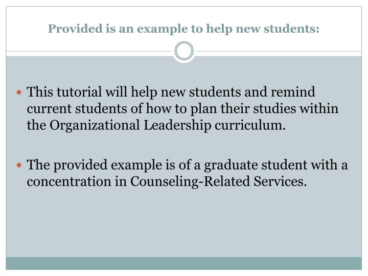 Provided is an example to help new students: