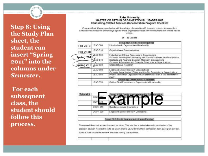 """Step 8: Using the Study Plan sheet, the student can insert """"Spring 2011"""" into the columns under"""