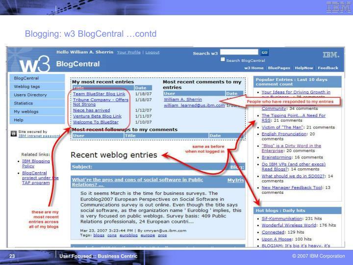 Blogging: w3 BlogCentral …contd