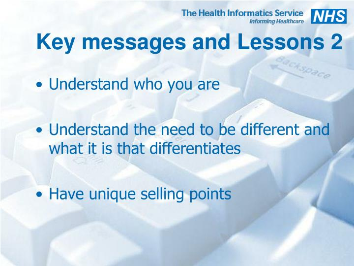 Key messages and Lessons 2