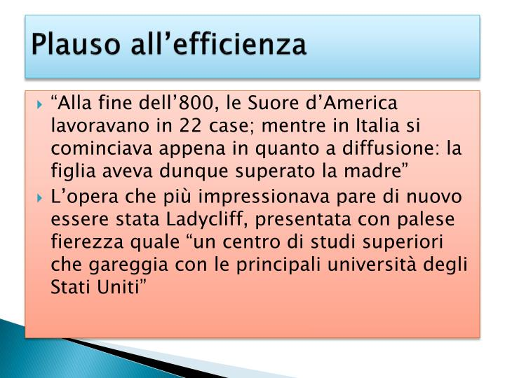 Plauso all'efficienza