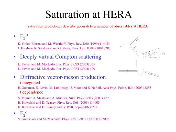 Saturation at HERA