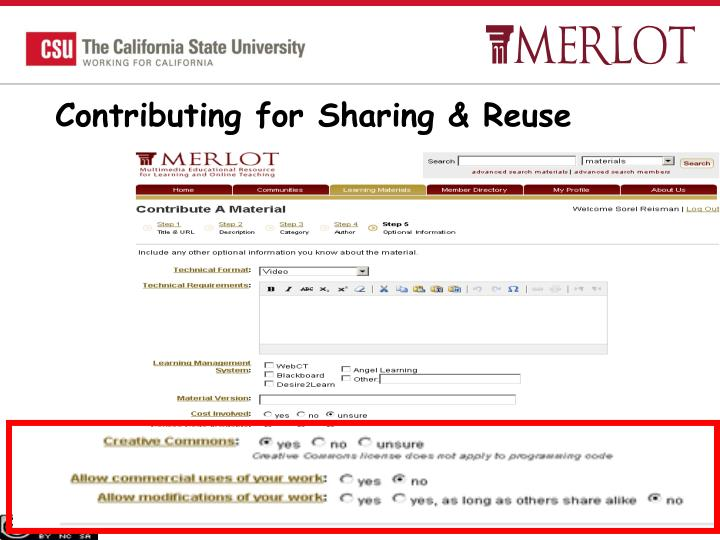 Contributing for Sharing & Reuse