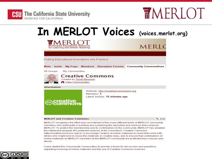 In MERLOT Voices
