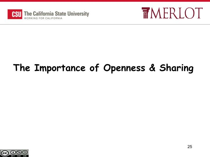 The Importance of Openness & Sharing