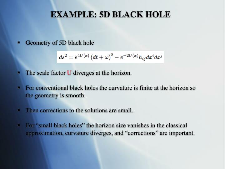 Example 5d black hole