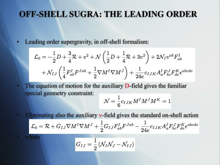 OFF-SHELL SUGRA: THE LEADING ORDER