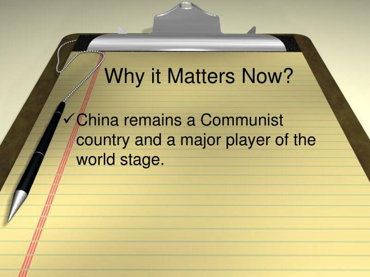 Why it Matters Now?