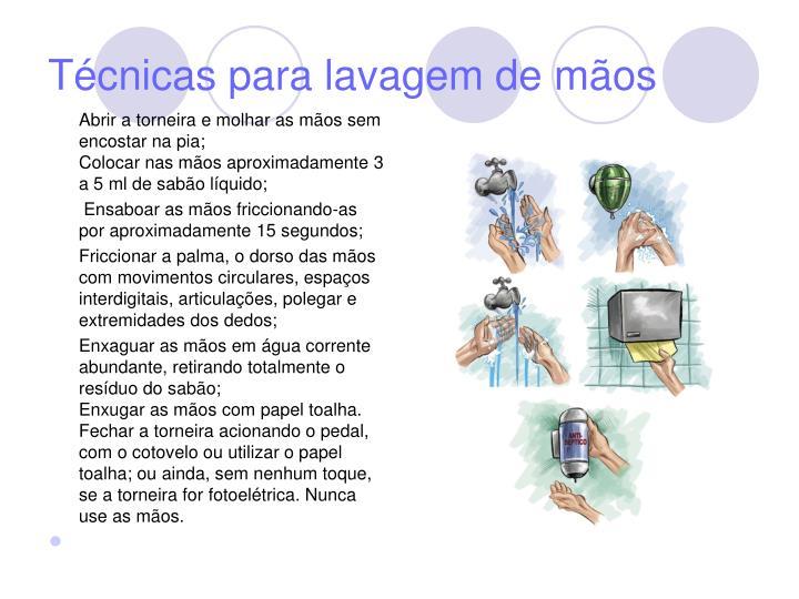 Técnicas para lavagem de mãos