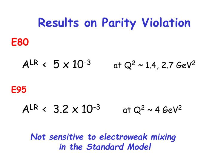 Results on Parity Violation