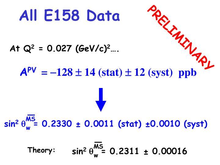 All E158 Data