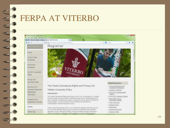 FERPA AT VITERBO