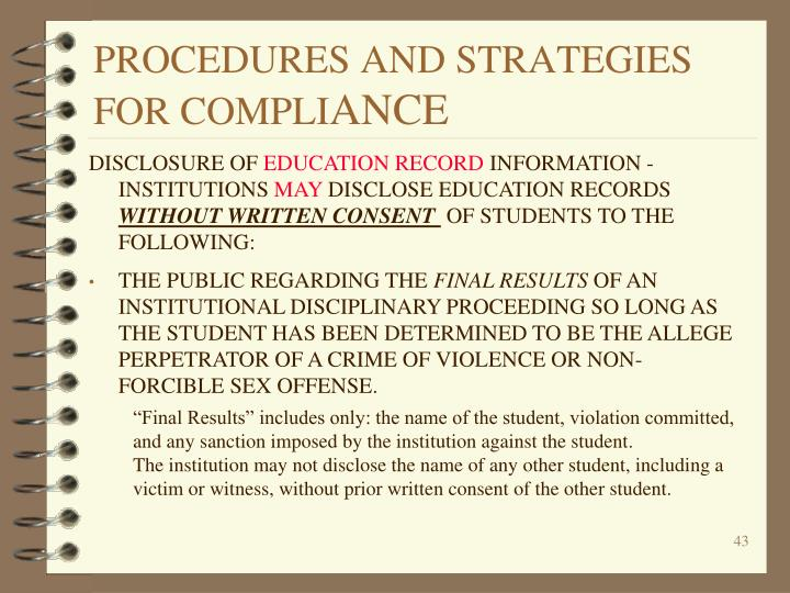 PROCEDURES AND STRATEGIES FOR COMPLI
