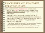 procedures and strategies for compli ance