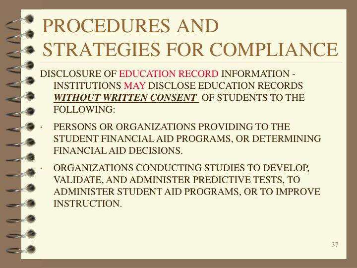 PROCEDURES AND STRATEGIES FOR COMPLIANCE