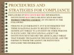 procedures and strategies for compliance8